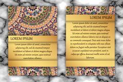 Invitation card design template. Vintage decorative elements with mandala, de Stock Illustration