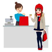 Woman Paying With Credit Card Stock Illustration