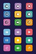 Grey multimedia buttons set. Stock Illustration