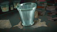 Glass Bucket with a Label. Stock Illustration