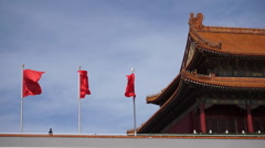 Chinese national flags flying on Tiananmen Rostrum Stock Footage