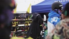 Skier twisting screwdriver in ski on ski resort. Riders. Holidays. Mountains Stock Footage