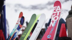 View of ski in encamp on ski resort. Riders. Holidays. Mountains. People walk Stock Footage