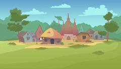 Small village surrounded by meadow. Stock Illustration