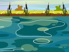 Summer Lake view vector illustration. Stock Illustration