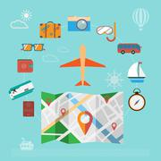Colorful summer holiday travel planning icon set. Stock Illustration