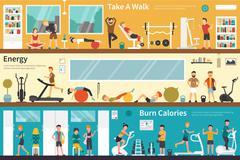Take A Walk Energy Burn Calories flat interior outdoor concept web Stock Illustration