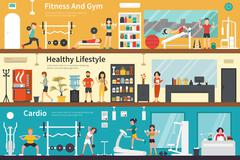 Fitness And Gym Healthy Lifestyle Cardio flat interior outdoor concept web Piirros