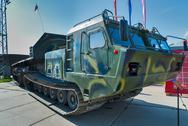 Caterpiller amphibious carrier. Russia Stock Photos