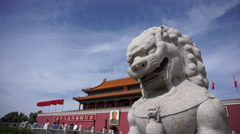 Ancient stone lion of Ming Dynasty in front of Tiananmen Rostrum Stock Footage
