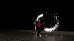 Fire show in the night Stock Footage