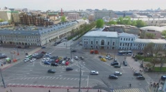City panorama with transport traffic on square near Tsvetnoy Boulevard Stock Footage