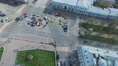 Transport traffic on square near Tsvetnoy Boulevard at spring Stock Footage
