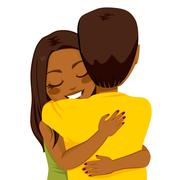African American Woman Hugging Stock Illustration