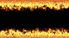 Lines of flames isolated on black Stock Footage