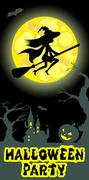 Halloween illustration of mysterious night landscape with witch fly on broom Stock Illustration