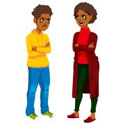 African American Mom Angry With Son Stock Illustration