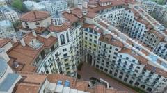 Street traffic near residential complex Italian Quarter. Aerial view Stock Footage