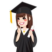 Asian Graduation Girl Stock Illustration