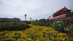 Colorful blossoms are decorated on the Tiananmen Square Stock Footage
