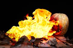 Halloween pumpkin spewing flames of fire on a black background Stock Photos