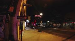 Empty Historic Downtown Flagstaff Arizona Street At Night Stock Footage