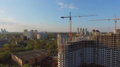 Building site of dwelling complex Jauza Park at spring Stock Footage