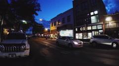 Historic Downtown Flagstaff Arizona Street At Dusk With People Walking Stock Footage