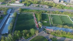 Panorama of soccer Spartak Club complex with several grass fields Stock Footage