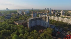 Townscape with building site of residential complex Jauza Park Stock Footage