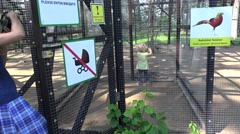 Mother with toddler girl look at exotic rare birds in zoo cage Stock Footage