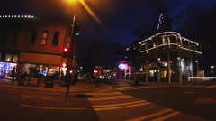 Pan Intersection To Historic Weatherford Hotel- Downtown Flagstaff Night Stock Footage