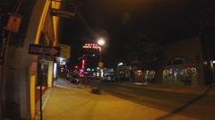 Pan Historic Downtown Flagstaff Arizona Street At Night Stock Footage