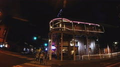 Pan Downtown Flagstaff Intersection To Weatherford Hotel- Night Stock Footage