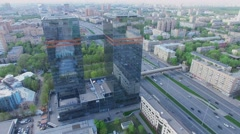 Cityscape with SkyLight multifunctional complex and Leningradskoe highway Stock Footage