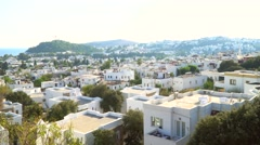 Typical Aegean architecture in Bodrum, Turkey. White houses in the town. Stock Footage