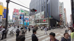 Timelapse of people walking in intersection at Dotonbori Namba Osaka japan Stock Footage