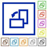 Rotate left framed flat icons Stock Illustration