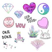 Collection of scrapbook stickers - raster clip art set Stock Illustration