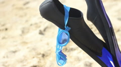 Summer Beach swimming accessories Stock Footage