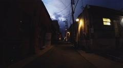 Walking Down Dark Alley With Old Brick Buildings- Flagstaff AZ 2 Stock Footage