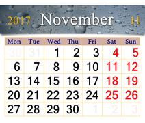 Calendar for November 2017 with drops of rain on glass Piirros