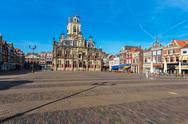 Council building and Central square in Delft, Netherlands Stock Photos