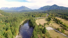 Snoqualmie River Aerial View Summer Stock Footage