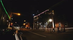 Young People Walk Downtown Flagstaff Street At Night Stock Footage