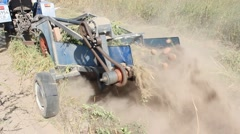 Special equipment on a tractor for digging the potato Stock Footage