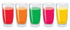 Vector set of colorful glasses with tasty fresh juice Stock Illustration