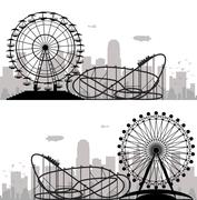 Vector background of a city and amusement park with ferris wheel and roller-c Piirros