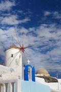 Windwill of Oia Santorini, Greece, copyspace Stock Photos