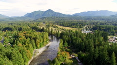 North Bend Washington Aerial Above Snoqulmie River Stock Footage